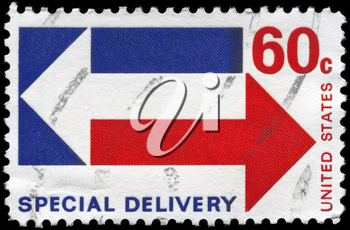 Royalty Free Photo of 1971 US Stamp Shows the Stylized Special Delivery Arrows