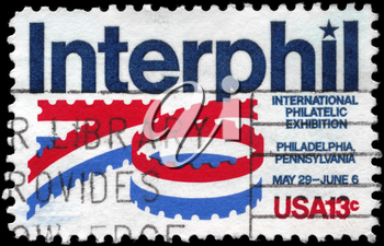 Royalty Free Photo of 1976 US Stamp Devoted to Interphil 76 Exhibition Philadelphia