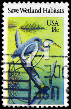Royalty Free Photo of 1981 US Stamp Shows the Heron, Preservation of Wildlife Habitats