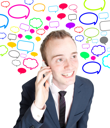 Royalty Free Photo of a Businessman Talking on a Cellphone