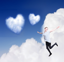 Heartshaped cloud with girl in love