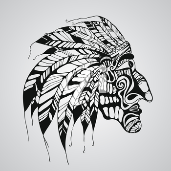 Vector hand drawn Tattoo, Native American Indian chief