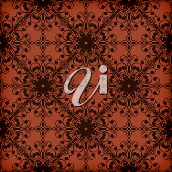 Vector seamless red floral  pattern, transparency effects and gradient mesh applied