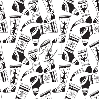 Vector Seamless Pattern with Hand Drawn Christmas Socks