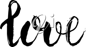 Vector Hand Drawn Lettering. Grungy dry brush style. Love