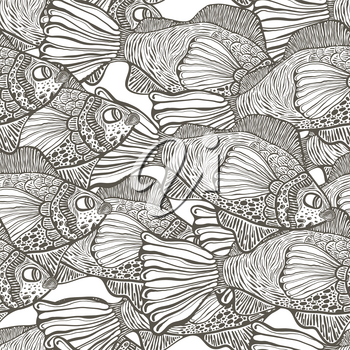 Vector Seamless Tough Pattern with Funky Fish . Hand drawn engraving style.