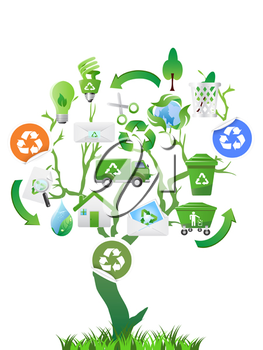 Royalty Free Clipart Image of a Recycling Tree