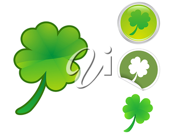 Royalty Free Clipart Image of Four Leaf Clovers