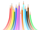 Royalty Free Clipart Image of Rainbow Pencil Crayons