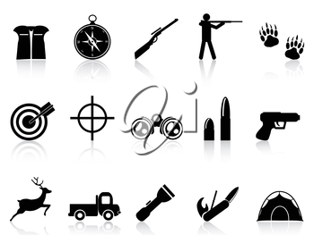 isolated hunting icons set from white background