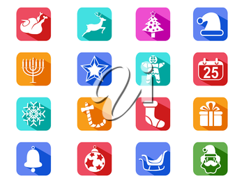 isolated Christmas mobile long shadow icons set on white background