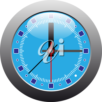 Royalty Free Clipart Image of a Clock With a Silver Frame