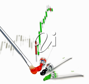 japanese candlestick chart painted on white background