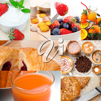 ealthy fresh nutritious vegetarian breakfast collage composition set