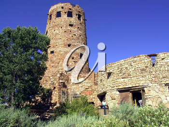 Royalty Free Photo of a Watch Tower in the Grand Canyon