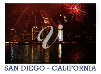 Royalty Free Photo of Fireworks Over San Diego