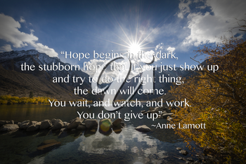 Royalty Free Photo of Landscape With an Inspirational Quote