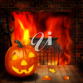 Halloween abstract backgrounds witn pumpkin and fireplace
