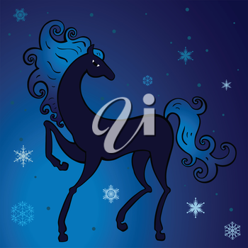 Royalty Free Clipart Image of a Horse on a Winter Background