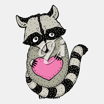 Raccoon carrying a heart.  Cartoon Hand drawn illustration.