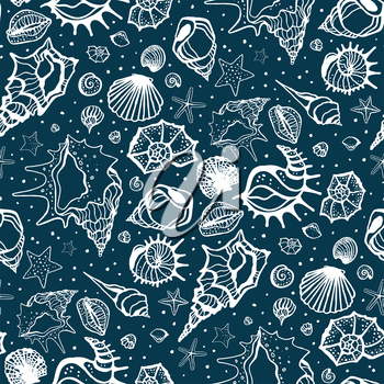 Seamless pattern of Sea shells. Hand drawn vector illustration
