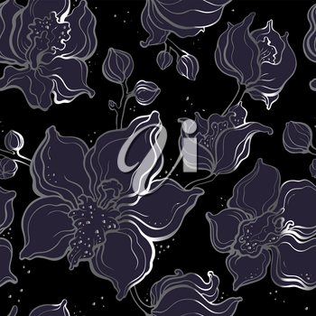 Floral pattern with Orchids. Beautiful golden seamless background. Elegant Hand Drawn vintage illustration