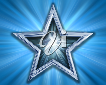 Illustration of a silver blue star on a blue background