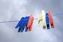 Royalty Free Photo of Clothespins on the Line