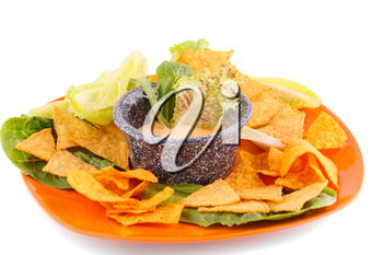 Nachos, lettuce and cheese sauce isolated on white background.