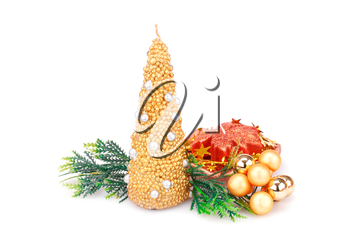 Christmas candles, balls and  fir tree branches  isolated on white background.