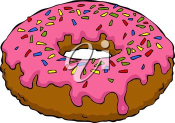 Royalty Free Clipart Image of a Sprinkle Donut