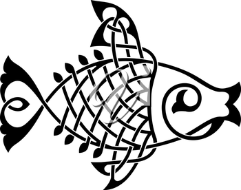 Royalty Free Clipart Image of an Ornate fish