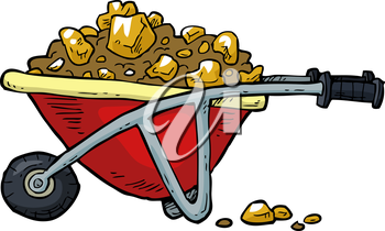 Cartoon trolley with gold nuggets vector illustration