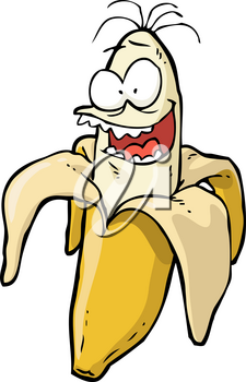 Doodle crazy banana on a white background vector illustration