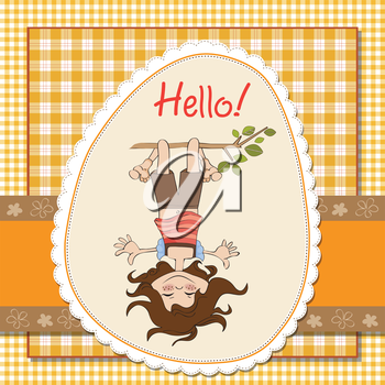 Royalty Free Clipart Image of a Girl Hanging Upside Down