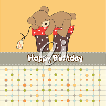 Royalty Free Clipart Image of a Happy Birthday Greeting With a Bear on a Gift