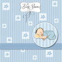 Royalty Free Clipart Image of a Baby Shower Invitation With a Baby Boy