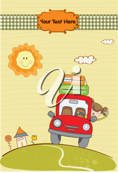 Royalty Free Clipart Image of a Woman in a Car With Luggage On it
