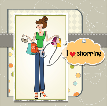 pretty young lady at shopping, illustration in vector format