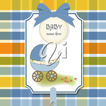 baby announcement card with pram