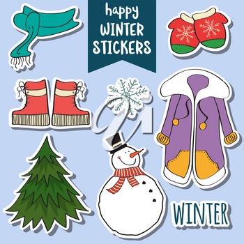 lovely happy winter stickers collection