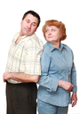 Old couple, pensioners. Isolated over white