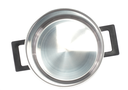 Saucepan (made of stainless stee) with stand cover, on white background.Isolated