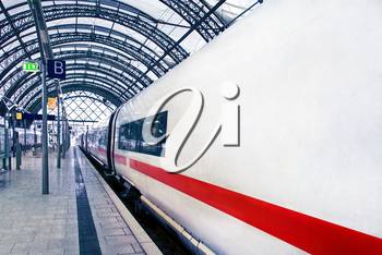 Modern high speed train ready to  departs from railway station.Germany