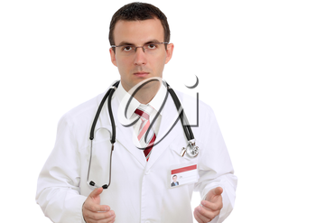 Portrait of friendly medical doctor with sadness and sympathetically face. Isolated