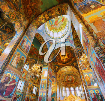 ST. PETERSBURG, RUSSIA FEDERATION - JUNE 29:Interior of Church Savior on Spilled Blood . Picture takes in Saint-Petersburg, inside Church Savior on Spilled Blood   on June 29, 2012.