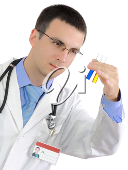 Doctor  resarch a medical test glass with urine. Isolated over white