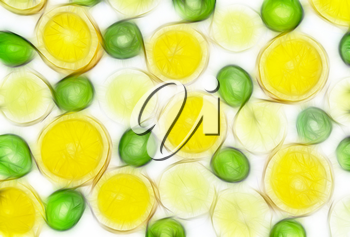 Abstract fractal rendered fruit mix-lemon, orange, kiwi on white background(as wallpaper or backdrop).