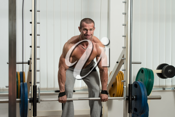 Healthy Male Doing Back Exercises In The Gym With Barbell