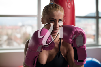 Woman Boxer MMA Fighter Practice Her Skills